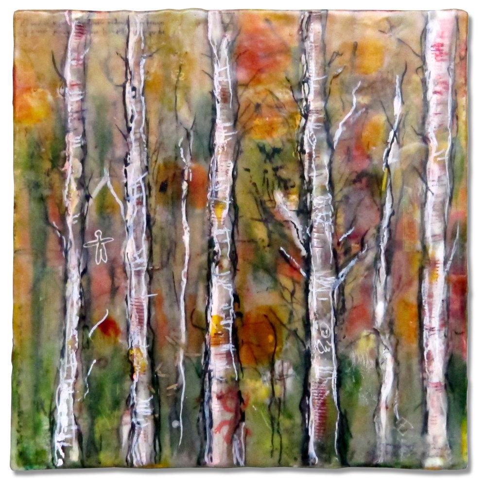 """Five White Trees"", encaustic, 10"" x 10"", $250"