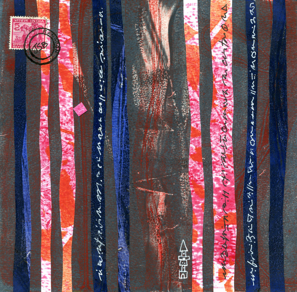 """""""Tower"""", monotype collage, 6"""" x 6"""", $125"""