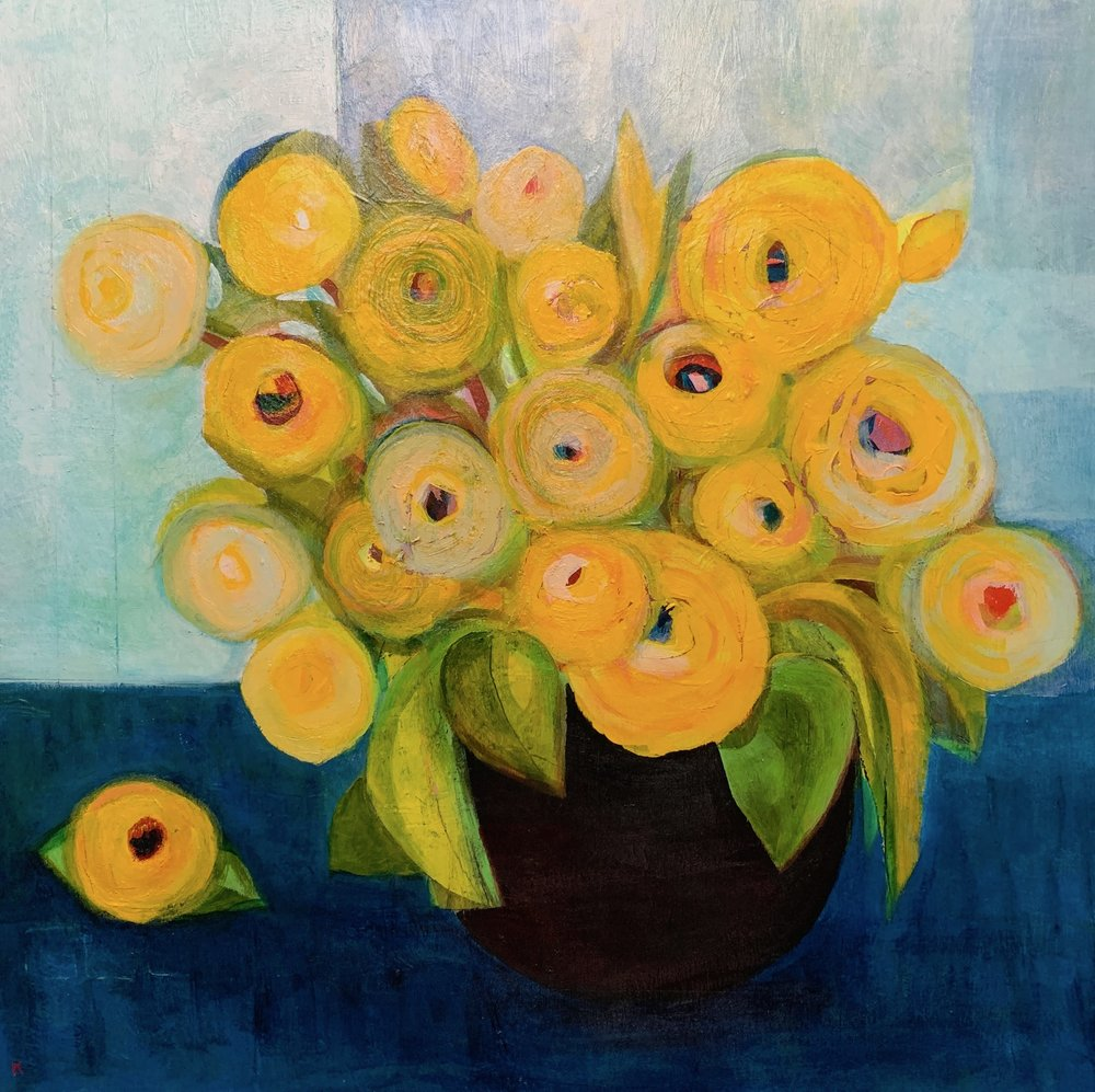"""Bowl Of Yellow Ranunculus"", copper leaf, acrylic on panel, 24"" x 24"", $1,200"