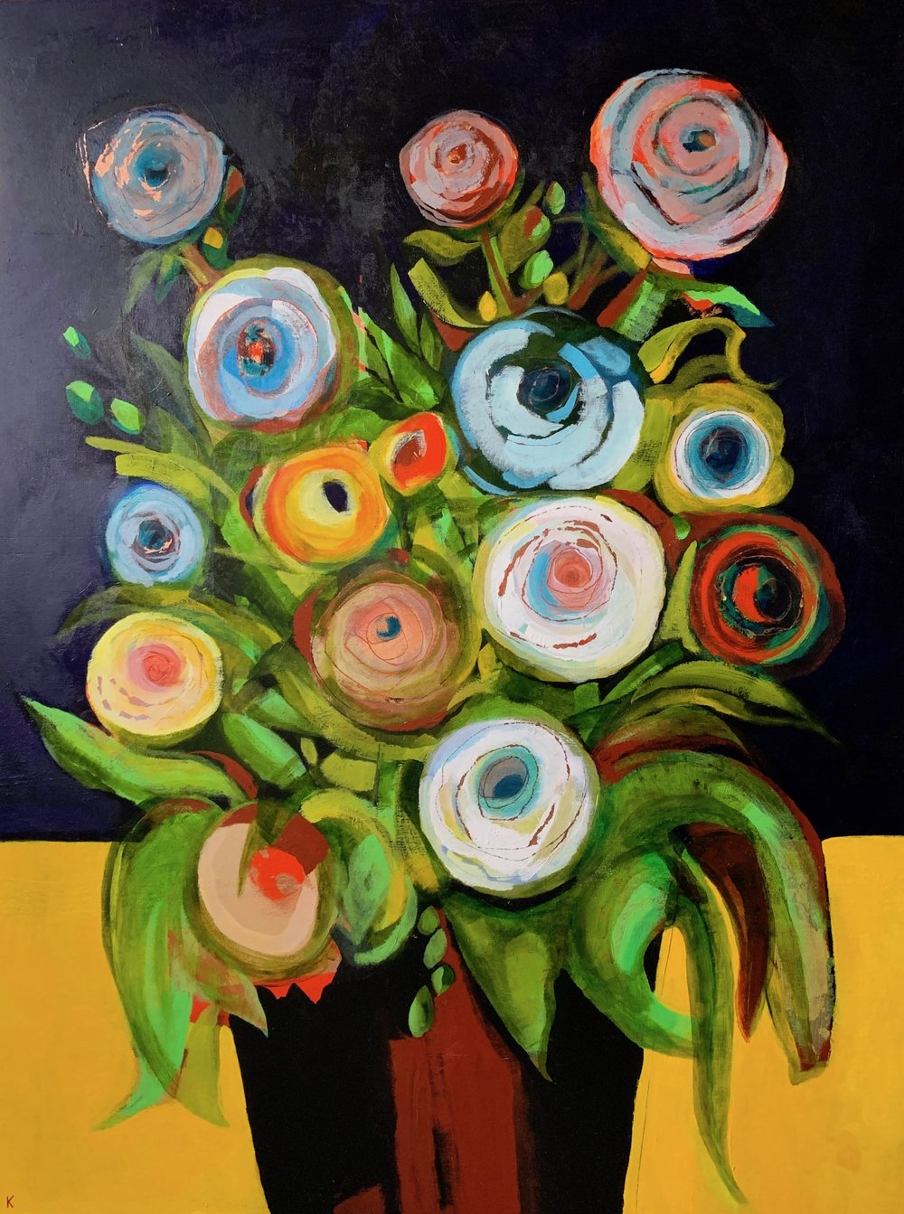 """Magnificent Bouquet"",  copper leaf, acrylic on panel, 36"" x 48"", $3,200"