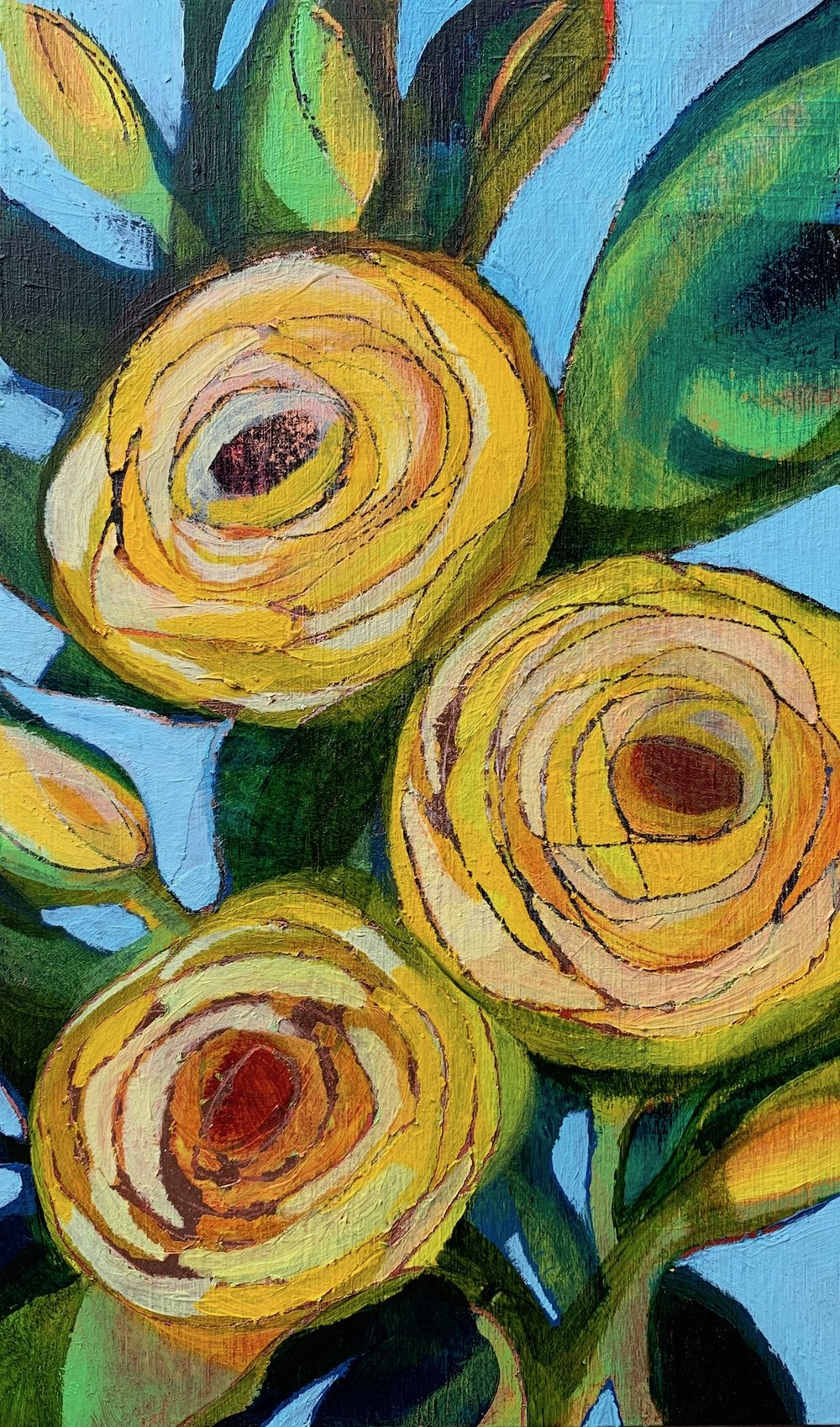 """Storybook Yellow Flowers"", copper leaf, acrylic on panel, 11"" x 6.5"", $300"