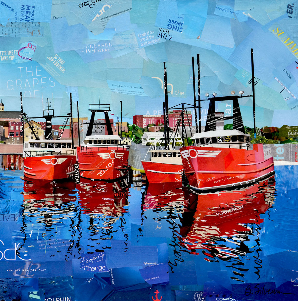 """""""Four Red Boats"""", collage, 30"""" x 30"""", $2,400"""