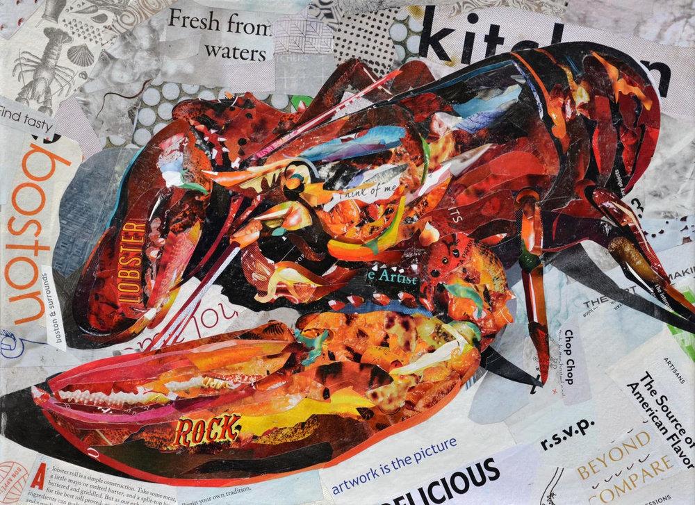 """Rock Lobster I"", collage, 12"" x 16"", $575 SOLD"