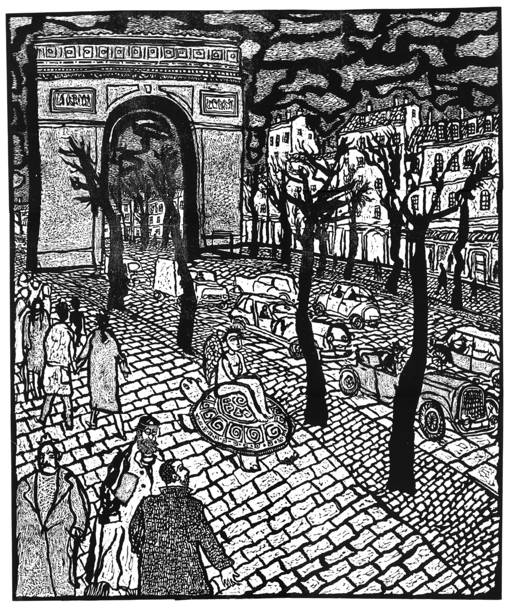 """""""Arc De Triomphe"""", linocut, 24"""" x 20"""", $800"""