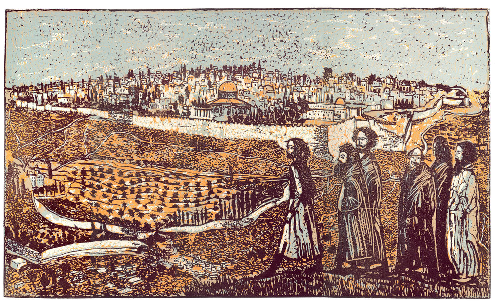 """Jerusalem"", linocut, 14"" x 24"", $800"