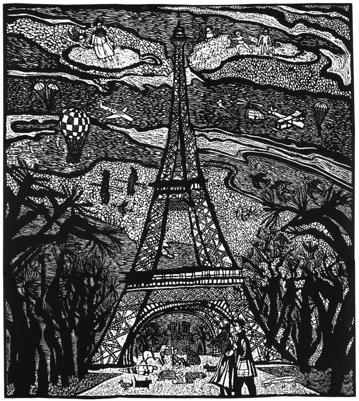 """La Tour Eiffel"", linocut, 24"" x 20"", $800"