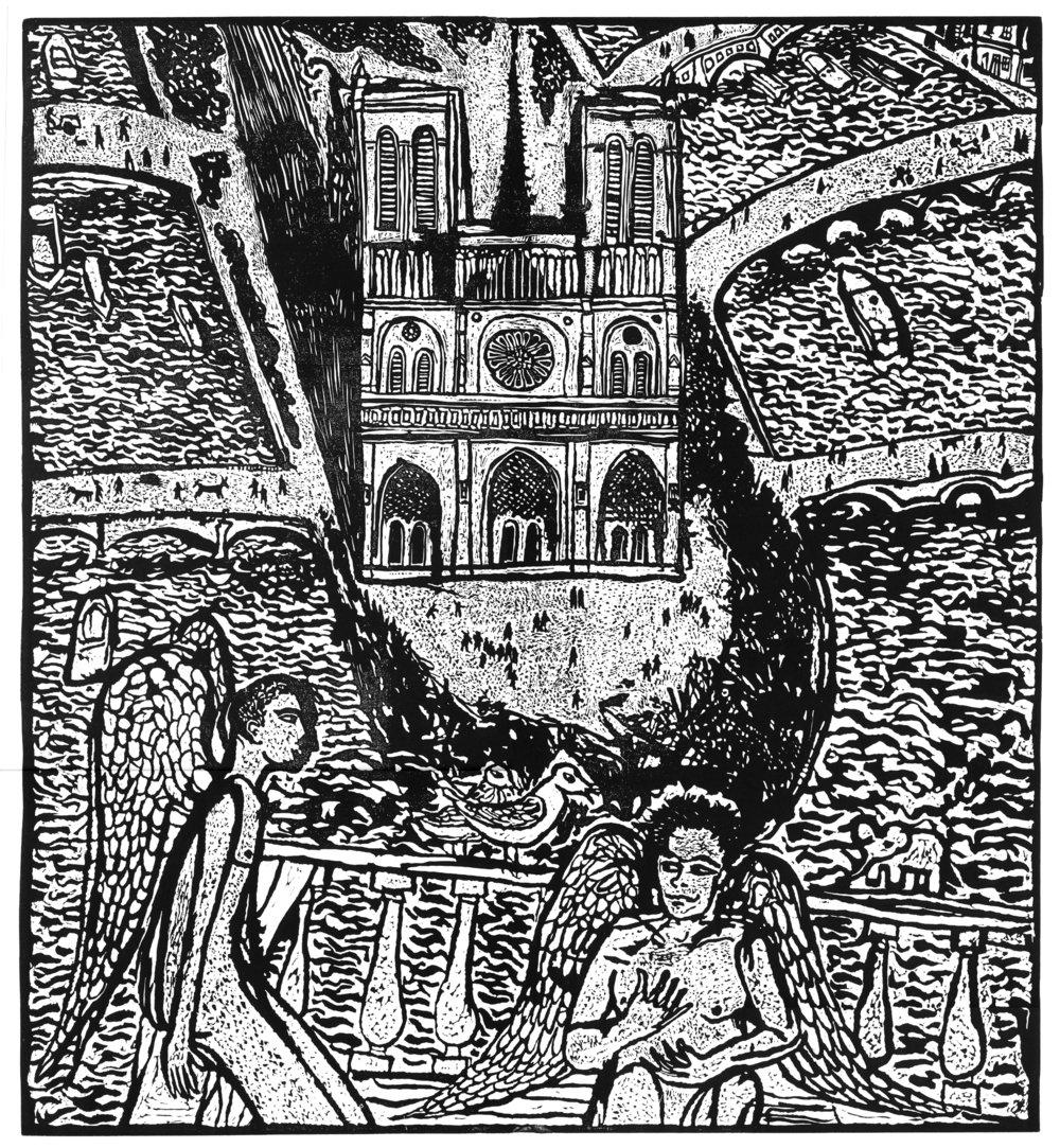 """""""Notre Dame"""", linocut, 24"""" x 20"""", $800"""