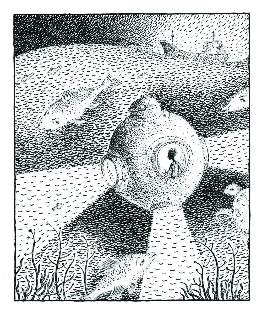 """Ocean"", lithograph, 5"" x 4"", $180"