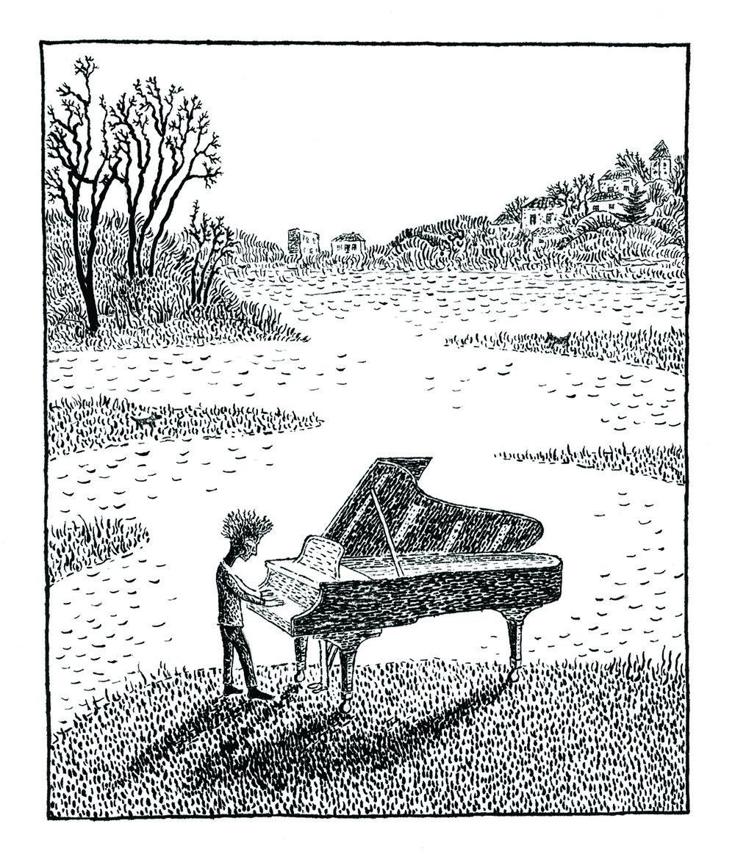 """""""Piano"""", lithograph, 5"""" x 4"""", $180"""