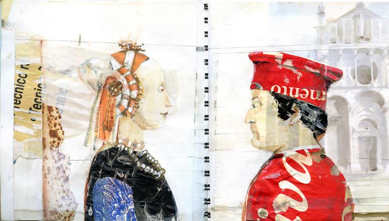 """Italian Journal"", mixed media, diptych each 10"" x 10"", $600"