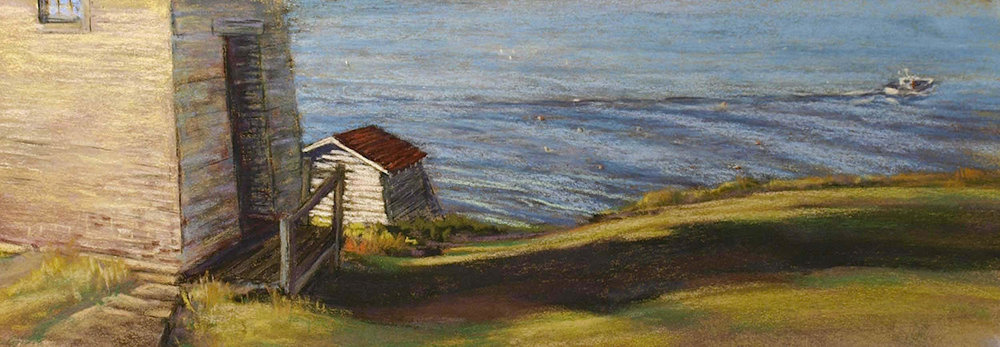 """Burnt Coat Light With Boat"" Swan's Island ME, plein air pastel on sanded paper, 21"" x 12"", $800 (framed)"