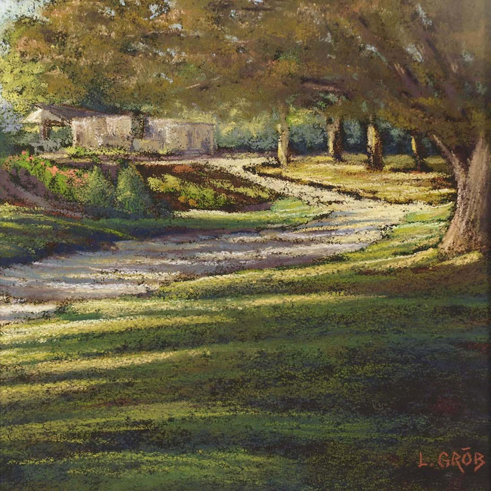 "Land's Sake Farm ""Evening Settles In"", plein air pastel on sanded paper, 14"" x 14"", $500 (framed)"