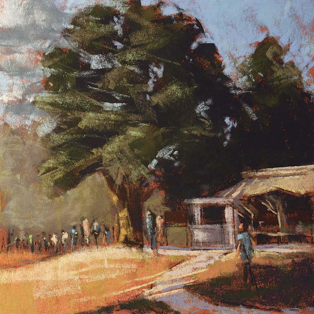 "Land's Sake Farm ""Opening Day"", plein air pastel on sanded paper, 14"" x 14"", $500 (framed)"