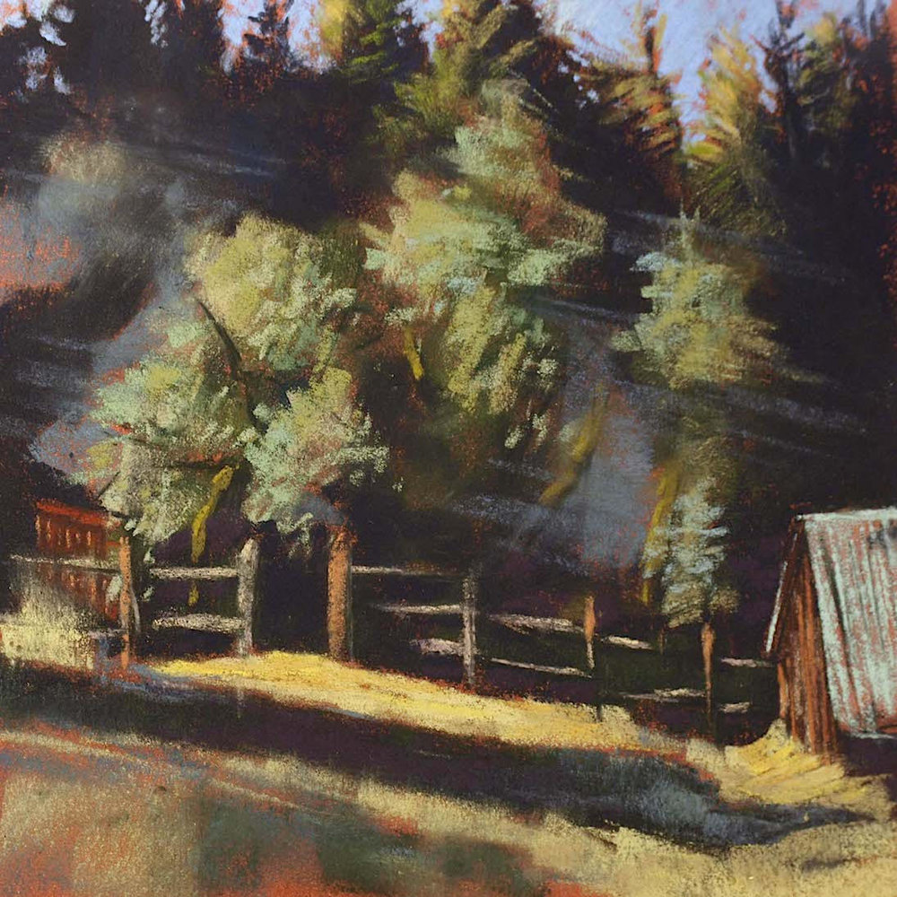 """Sierra Foothills Farm, The Coop"", plein air pastel on sanded paper, 13.25"" x 13.25"", $500 (framed)"