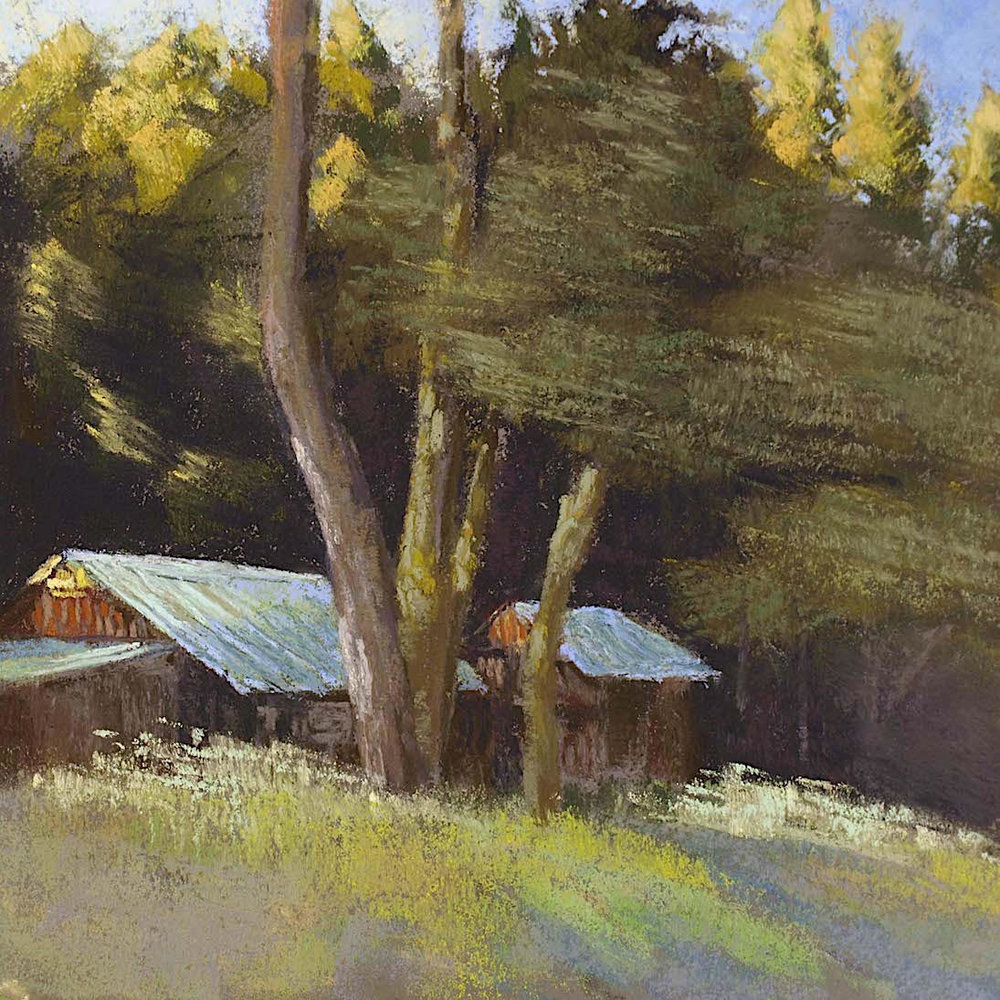 """Sierra Foothills Farmhouse, Morning Light"", plein air pastel on sanded paper, 14"" x 14"" $500 (framed)"