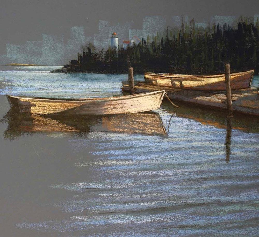 """Translucent Boats"" Swan's Island, ME, pastel on sanded paper, 21"" x 21"", $1,600 (framed)"