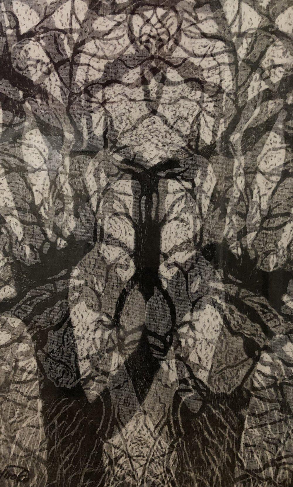 """""""Tree Odyssey 10"""", woodcut/layered"""