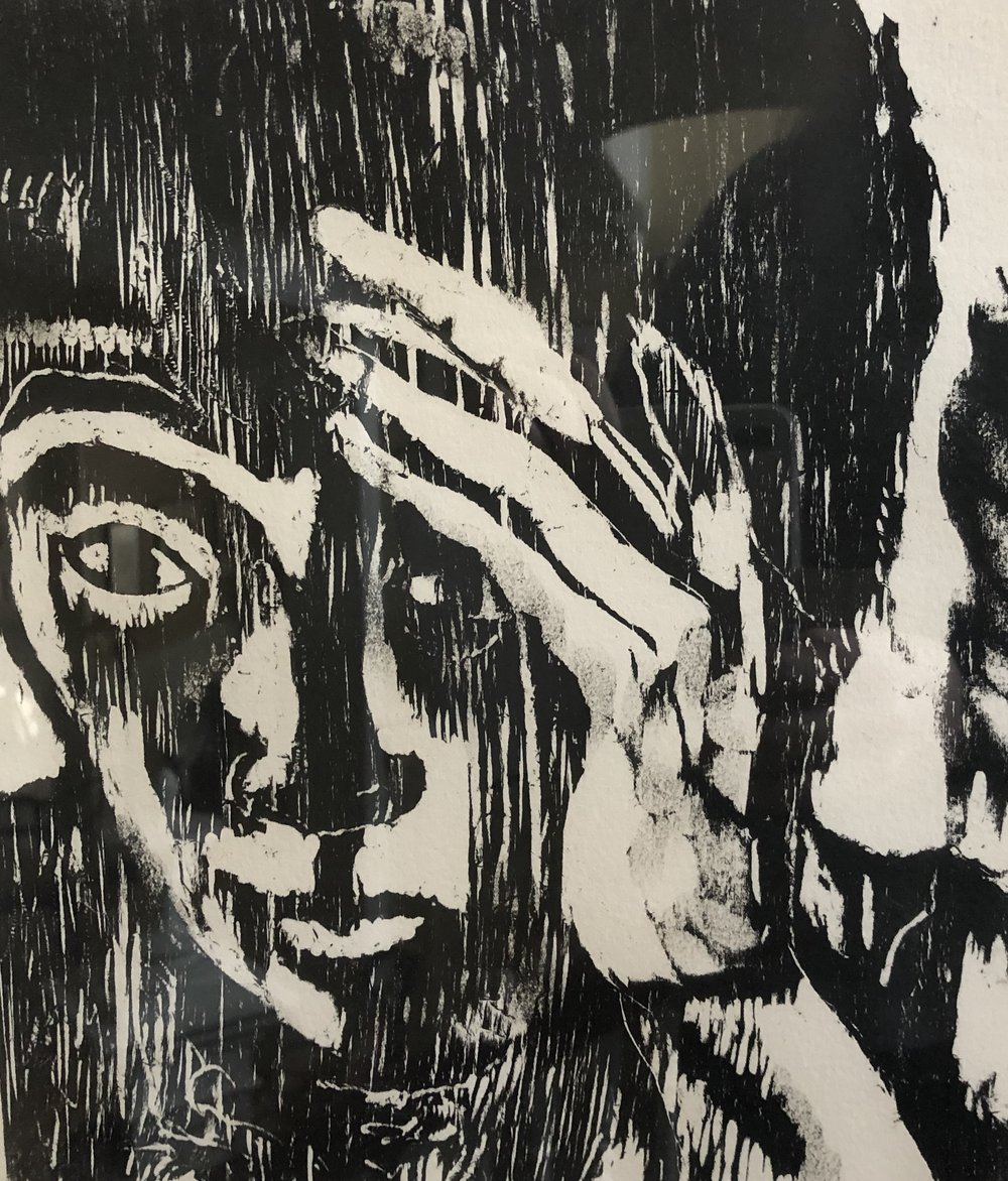 """Deep In Thought"", woodcut"