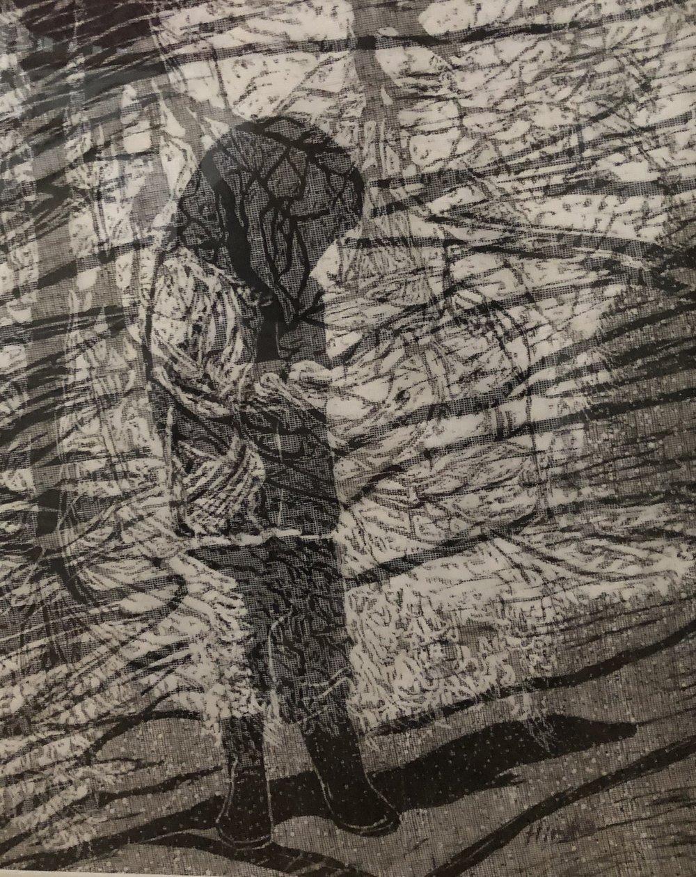 """""""Looking Down"""", woodcut"""