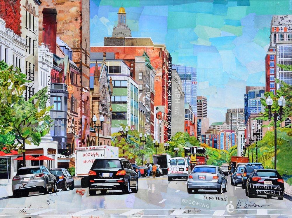 """Boston Moves"", collage, 36"" x 48"", $4,500"