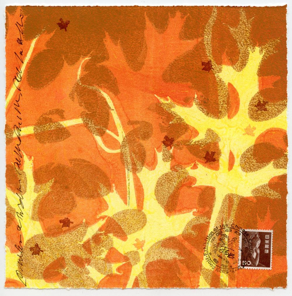 """""""Orange leaves"""", monotype collage, 7"""" x 7"""", $125"""