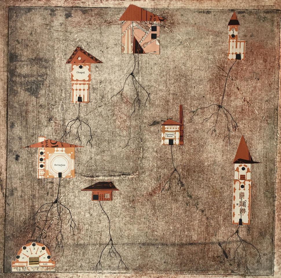 """""""Roots"""", monoprint & antique paper, 18"""" x 19"""", $300"""
