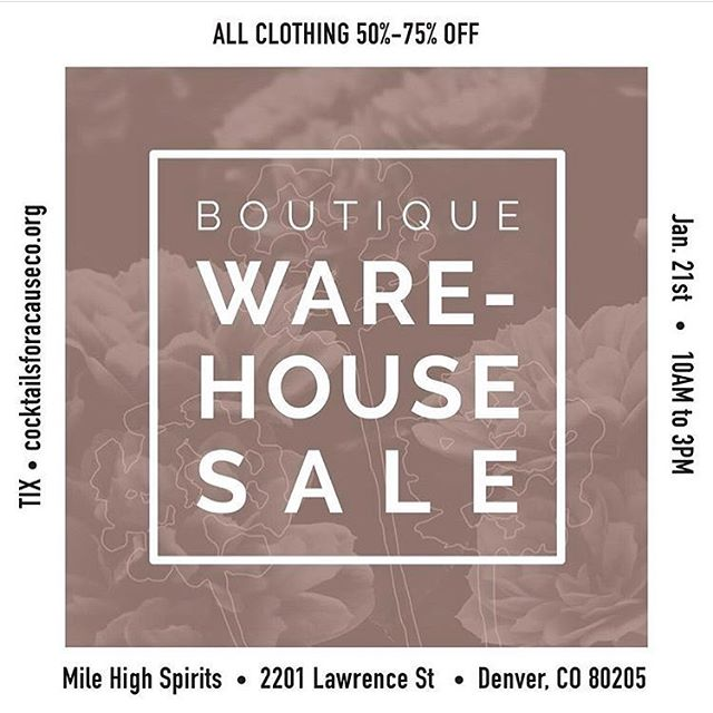 SHEA Babes!! We are so excited to be a part of this rad boutique warehouse sale!! 10 of your favorite local boutiques are coming together January 21st from 10-3 at Mile High Spirits and they are bringing all the 🔥 sales with everything 50-75% off! Tickets are $10 ahead of time at cocktailsforacauseco.org or at the door and include a free drink! Or get a $20 VIP ticket for early access at 9 am and a specially curated VIP gift bag. All proceeds benefit Cocktails For a Cause! You don't want to miss this! Link in bio :)