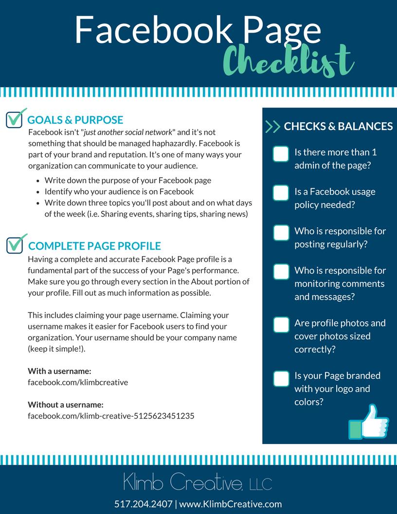 Free Facebook Page Checklist