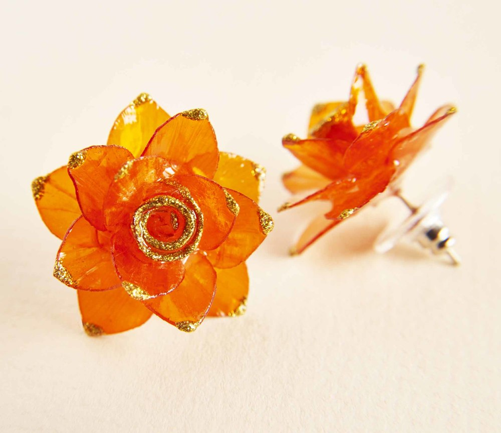 $39.00- TANGERINE ROSE FISH SCALE EARRINGS