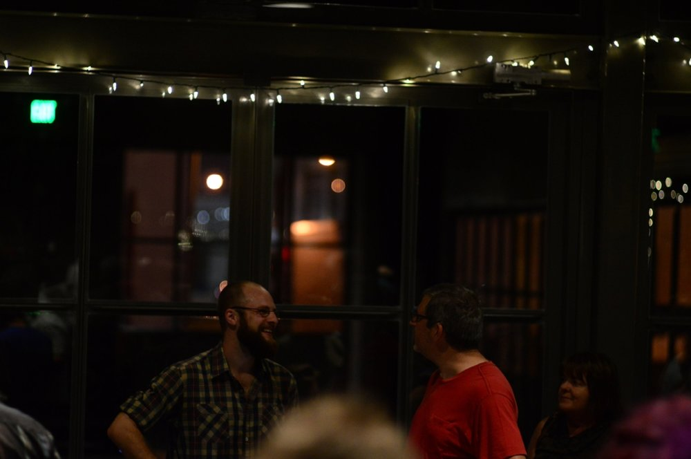 Talking with an audience member after the San Fran Bach & Beer. photo: Chris Sampang