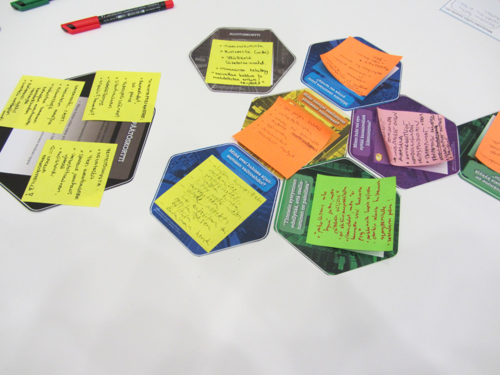 Cards filled in with discussions about the needs of business hubs on the right, a grey summary card on the left