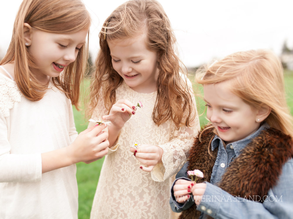 Erin Aasland Snoqualmie Childrens Photographer Sisters Picking Daisy
