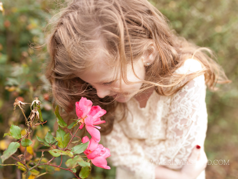 Erin Aasland Snoqualmie Childrens Photographer Smell the Roses