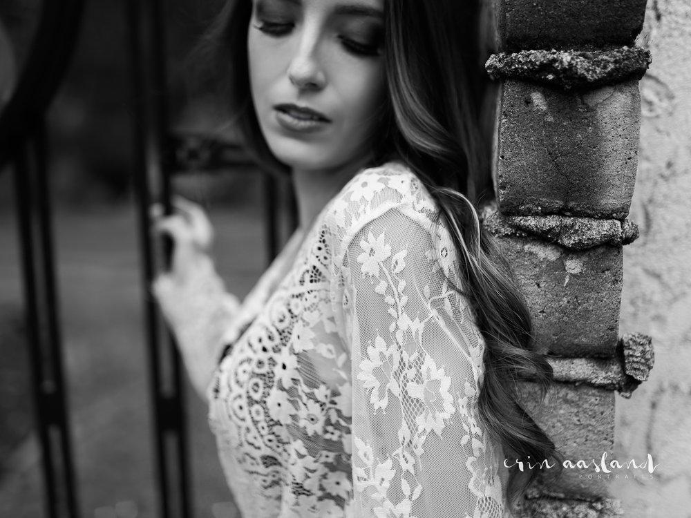 Erin Aasland Snoqualmie Boudoir Photographer Lace Iron Gate Brick Wall
