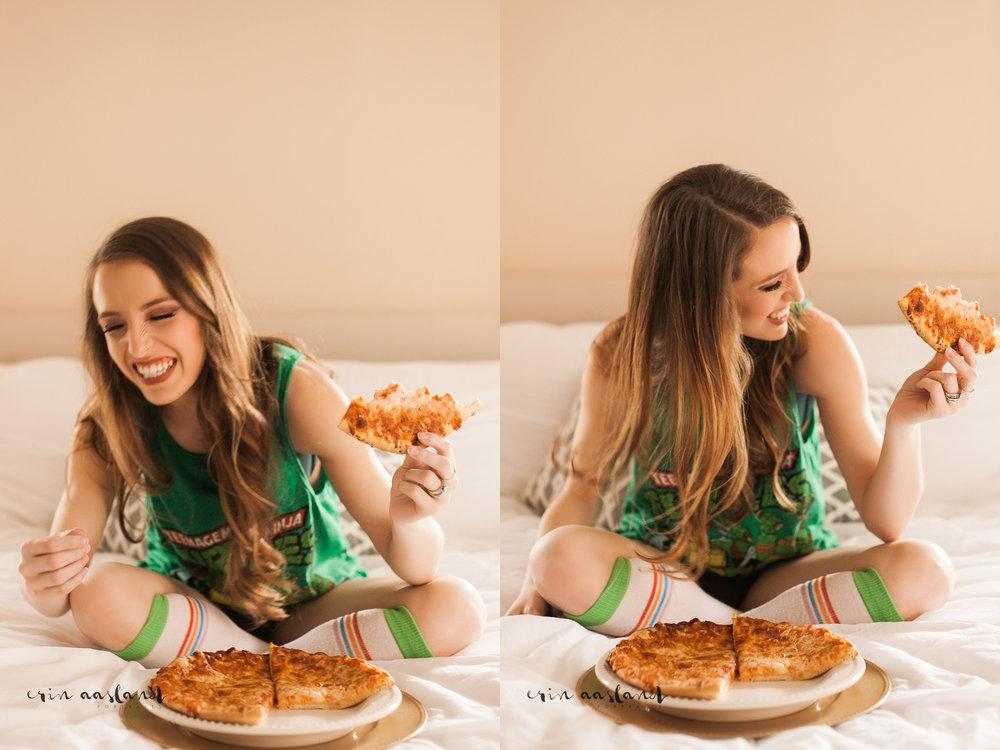 Erin Aasland Snoqualmie Boudoir Photographer Pizza Laughing