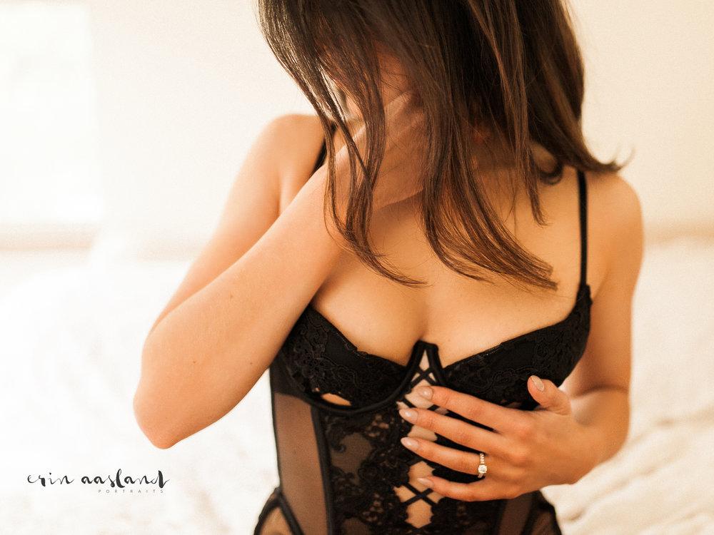 Erin Aasland Snoqualmie Boudoir Photography Black Bodysuit