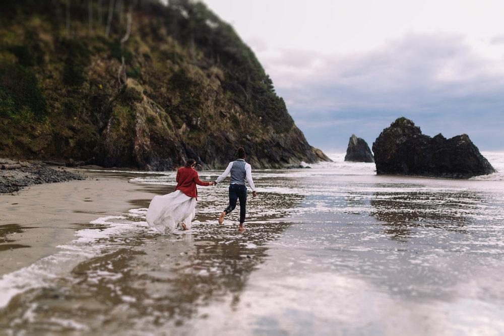 Erin Aasland Elopement Oregon Coast Barefoot Waves Dirty Dress