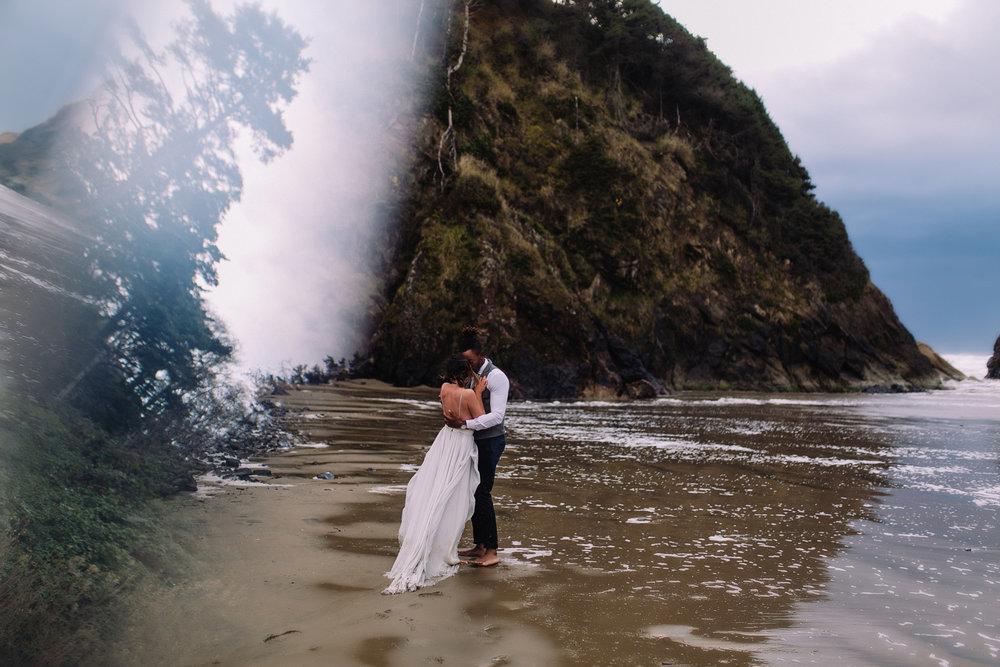 Erin Aasland Elopement Photographer Oregon Coast Prism stormy beach