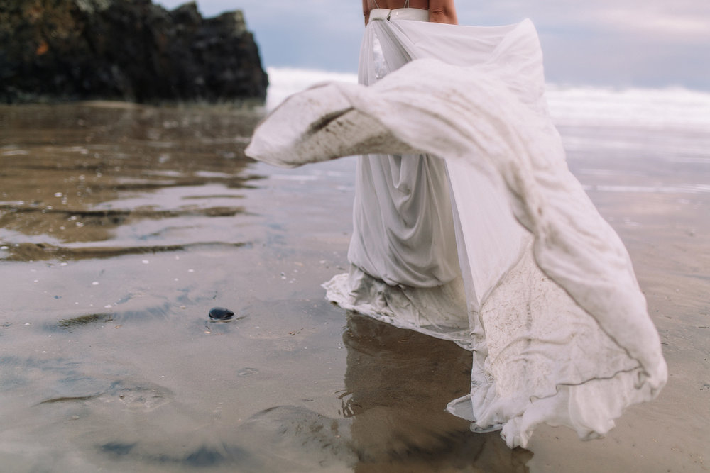 Erin Aasland Elopement Bride dress wind blown