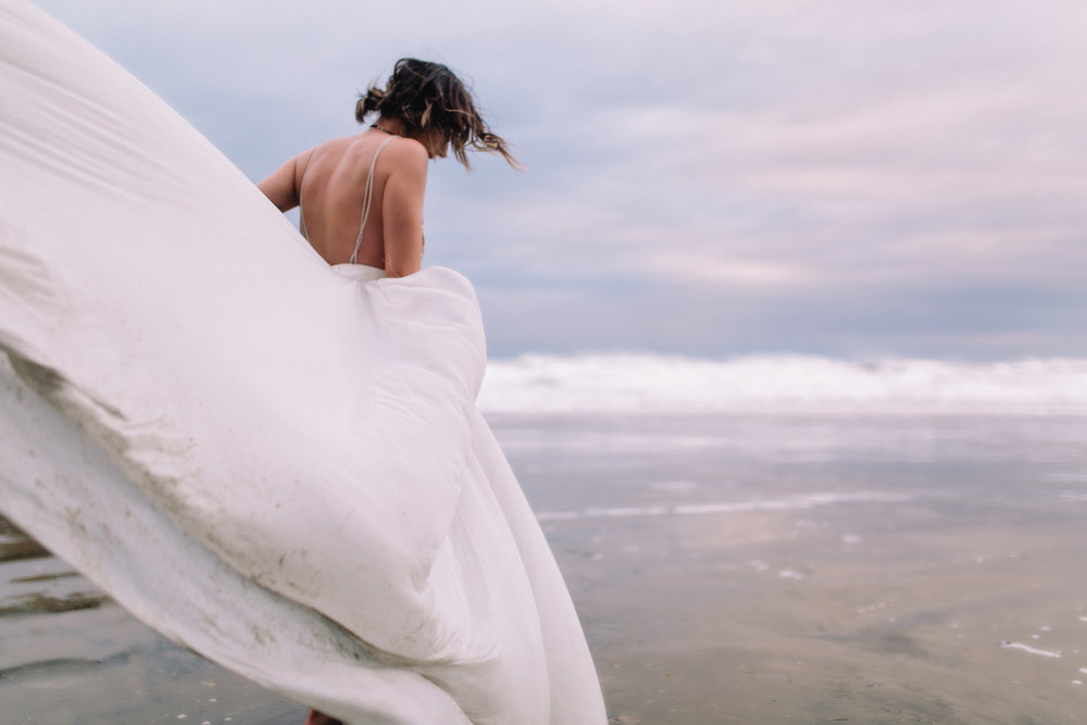 Erin Aasland Elopement Oregon Coast Windy Dress Beach