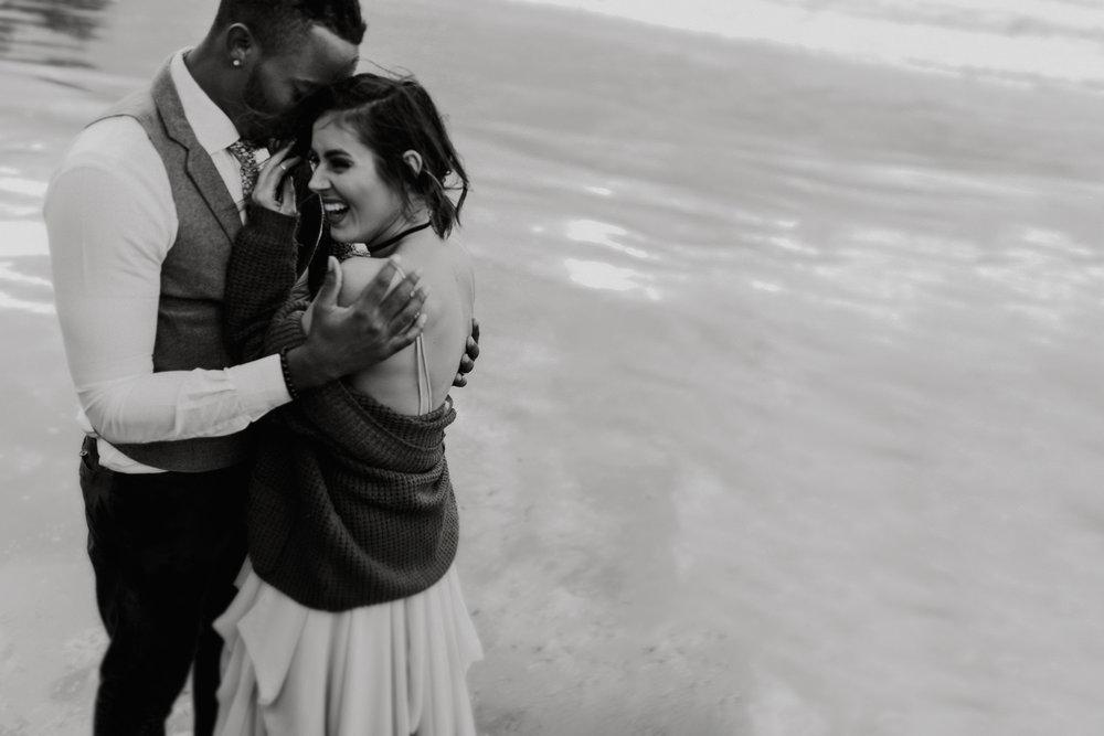 Erin Aasland Elopement Oregon Coast laughing embrace adventure couple