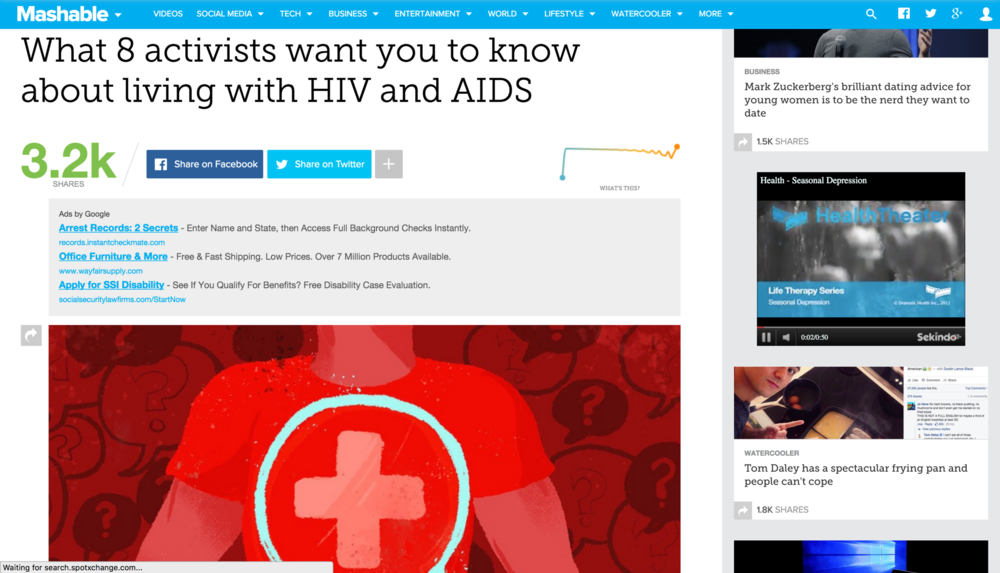 Thank You Mashable for featuring this Guy! #mashable #hiv #awareness #music #livingwithHIV #musician #singersongwriter