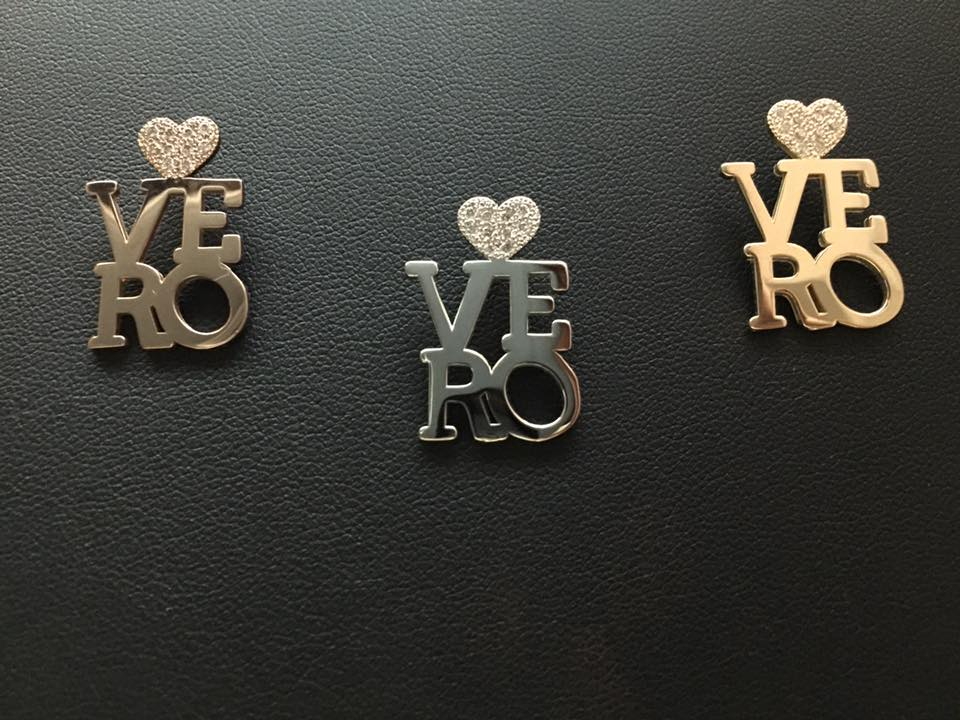 "Rose Gold, White Gold, and Yellow Gold Pavé Diamond ""Love Vero"" Charms"