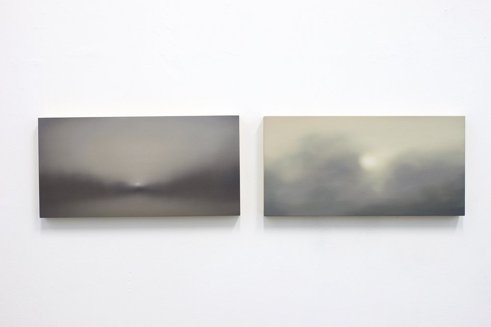 Space XVII & XVIII (diptych), oil on wood, each 20x40cm, 2017