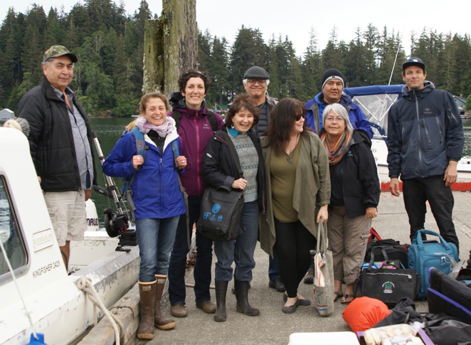 From left to right: Tony Hanson (KCFN Fisheries Manager), Anne Salomon (SFU Professor), Jenn Burt (SFU researcher), Evelyn Pinkerton (SFU Professor), Git Kinjuaas Ron Wilson (Haida Laana AwGa, Hereditary Chief), Laurie Wood (team organizer), Wii-tsts-koom Anne Mack (Toquaht Ha with, Hereditary Chief), Skill-Hillans Allan Davidson (Haida Laana AwGa, Hereditary  Chief), Ilja Herb (our film maker)