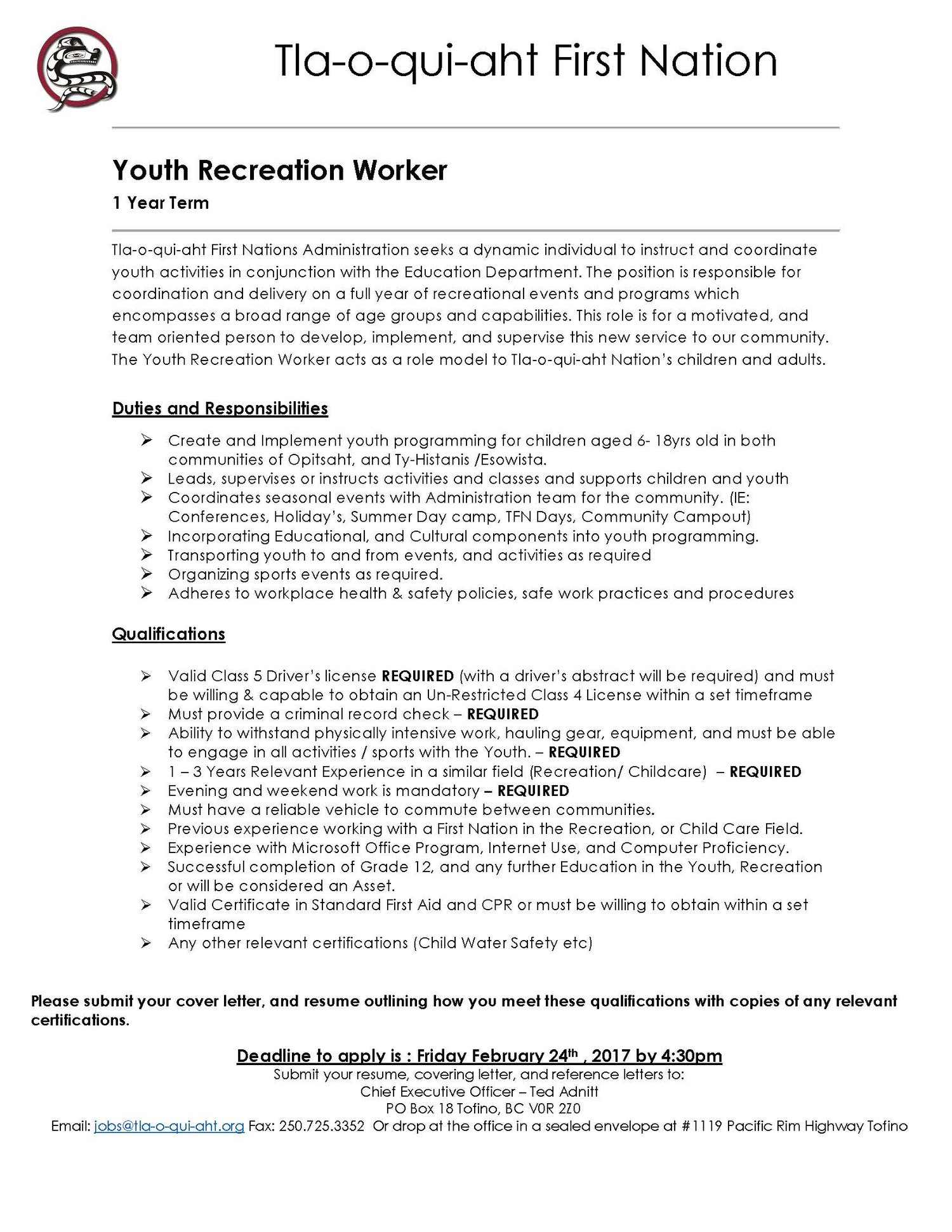 youth recreation worker job posting - Recreation Cover Letter