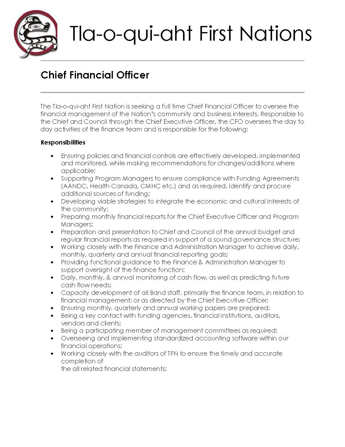 Chief Financial Officer   Job Posting