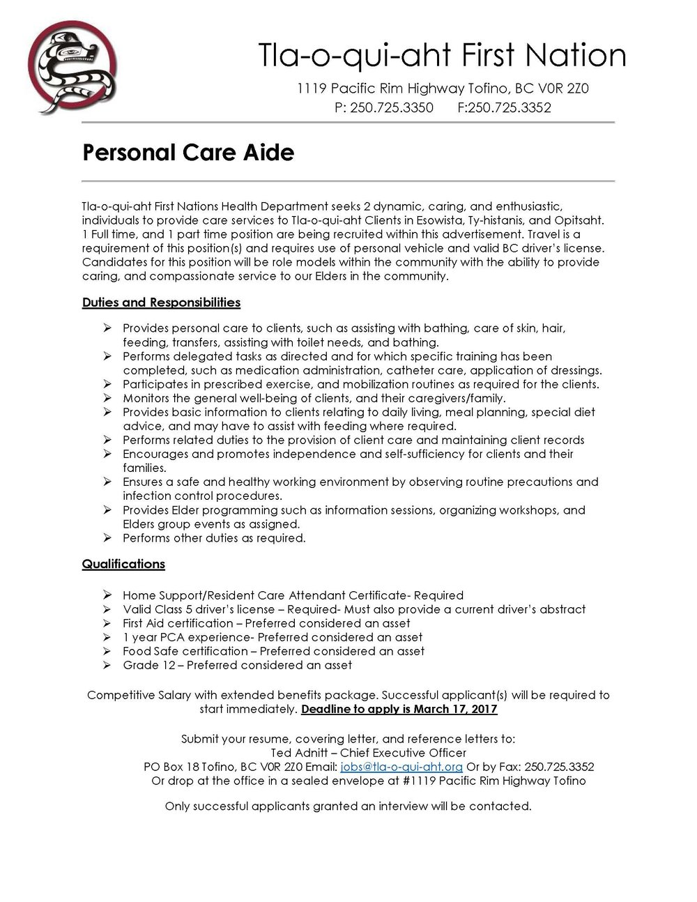 Personal Care Aid Job Postings Tla O Qui Aht First Nation