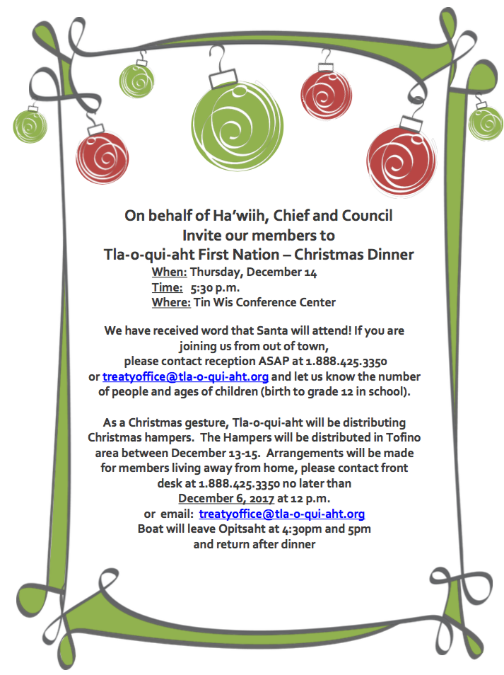 Christmas Dinner In A Tin.Christmas Dinner Dec 14th At Tin Wis Tla O Qui Aht First