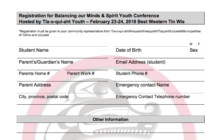 Tfn youth conference registration form tla o qui aht first nation thecheapjerseys Gallery